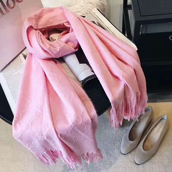 GUCCI Trending Women GG Letter Tassel Cashmere Scarf Shawl Pure Pink I-XLL-WJ