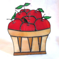 Vintage Suncatcher Apple Basket Stained Glass