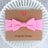Stretch bow headband - light pink - bow headband - women - teen - feminine - retro