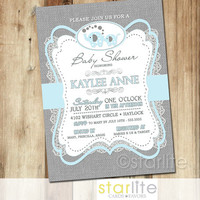 Elephant Baby Shower Invitation - blue gray burlap lace - 5x7 Boy retro vintage style, typography, unique shower invitation - You Print