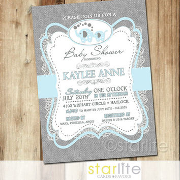 Elephant baby shower invitation blue from starwedd on etsy elephant baby shower invitation blue gray burlap lace 5x7 boy retro vintage style filmwisefo