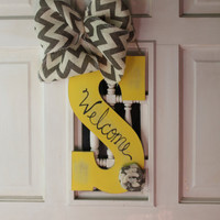 Yellow distressed initial door hanger with burlap, door hanger, monogram door hanger, initial, monogram, door decor, welcome wreath