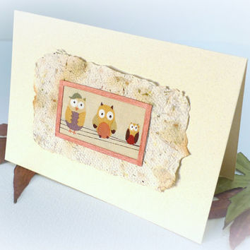 Owl Family Handmade blank card handmade paper recycled paper Bird card Birthday Thank you Thinking of you Rustic New Baby Christmas Scottish