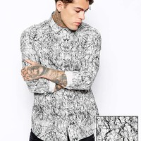 ASOS Smart Shirt In Long Sleeve With Marble Print