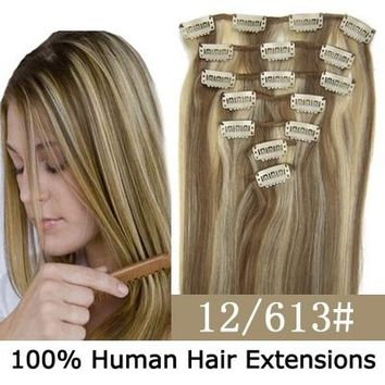 20inch 7pcs/set Clip-in Hair Remy Human Hair Extensions #12/613 for Women Beauty Hair Salon (Size: 20 inches, Color: Multicolor)