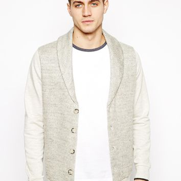 ASOS Sweat Cardigan With Knitted Panel