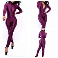 Trendy Sexy Purple Zipper Front High Neck Celeb Jumpsuit Bodysuit One Piece Bandage Dress Clubwear = 1958046532