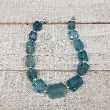 92.5cts, 13pcs, 9mm-15mm Blue Fluorite Gemstone Faceted Beads @Afghanistan,BE32