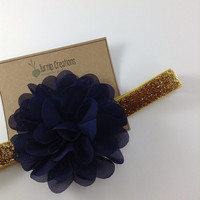 Navy & Gold Headband Ballerina Flower Twirl Flower Glitter Headband Newborn Headband Toddler Headband Holiday Headband Photo Prop