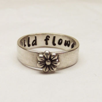 Wild Flower Sterling Silver Wide Band 5x1.25mm Floral Handstamped Hidden Message Ring - Oh My Metals