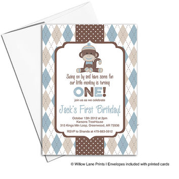 Sock Monkey invitations | Blue and Brown Boy Birthday Party Ideas | First birthday boy theme invites | printable or printed - WLP00326
