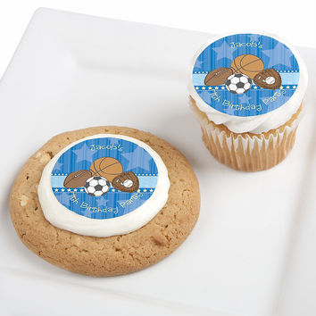 All Star Sports - Personalized Birthday Party Edible Cupcake Toppers - 12 ct