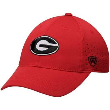 DCCKG8Q NCAA Georgia Bulldogs Men's Top of the World Red Jock II 1 Fit Flex Hat