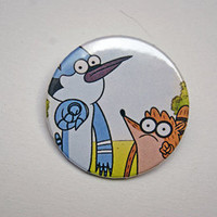 "Regular Show - Mordecai and Rigby using The Power in your face 1x1.5"" pinback button badge from Stickerama"