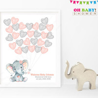 Guest Book Alternative, Elephant Baby Shower Guest Book, Guest Sign in Baby Shower, Watercolor, Printable Guest Book Template Pink Gray ELWP