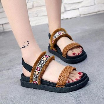 Summer Women's Sandals Ethnic Style Crystal