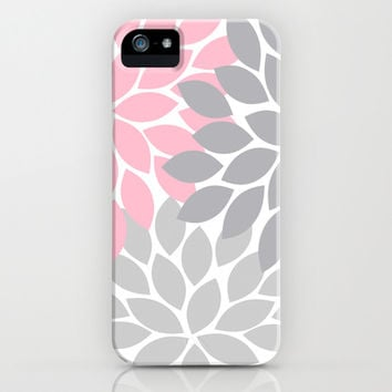 Bold Colorful Pink Grey Dahlia Flower Burst Petals iPhone & iPod Case by TRM Design