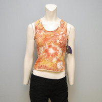Vintage Deadstock Capezio Tie Dye Orange and Yellow Tank Top Crop Top Workout Shirt Spandex 1990's Midriff Crop Top Racer Back Athletic