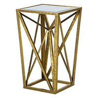 Melda Gold Angular Mirror Top Accent Table