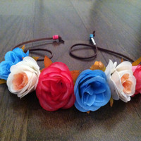 Blue, White and Pink Rose Flower Headband, Flower Crown, Flower Halo, Festival Wear, EDC, Coachella, Ezoo,Ultra Music Festival, Rave
