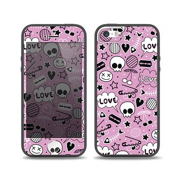 The Pink & Black Love Skulls Pattern V3 Skin Set for the iPhone 5-5s Skech Glow Case