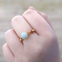 Green Amazonite Wire Wrapped Ring