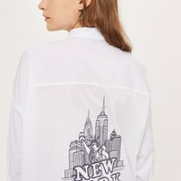 New York Embroidered Slogan Shirt | Topshop