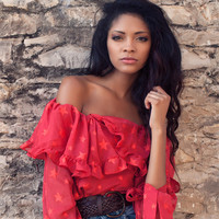 Flouncing chiffon top, off the shoulder top, Flouncing top, chiffon top, red top, star pattern, off the shoulder shirt,