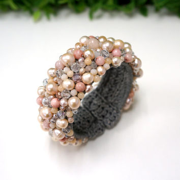 Freshwater pearl bangle with crystal bead on wax cotton thread