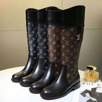 LV Louis Vuitton High Quality Autumn Winter Fashion Women Personality Leather High Boots
