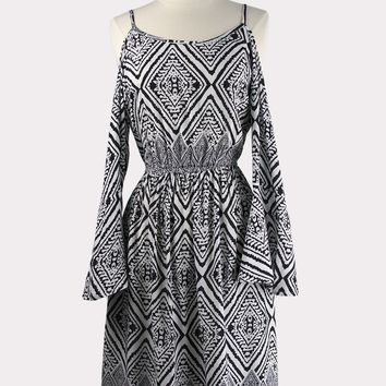 Aztec Cold-Shoulder Dress