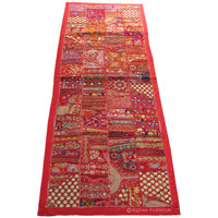 Red Antique Old Multi Patchwork India Hand Embroidery Wall Tapestry Runner