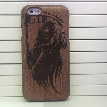 6 Designs Wings Death Holy Bible Dragon Tiger Natural Bamboo Wood Case For iPhone 6 Real Wooden Carving Hard Cover Phone Cases