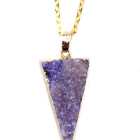 Amethyst Gold Plated Arrow Druzy Pendant Necklace