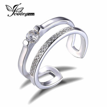 JewelryPalace 0.2ct Cubic Zirconia Anniversary Wedding Band Engagement Ring Set Guard Enhancer Real 925 Sterling Silver Jewelry