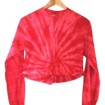 Cherry Red Tie-Dye Cropped Long Sleeve Unisex Tee