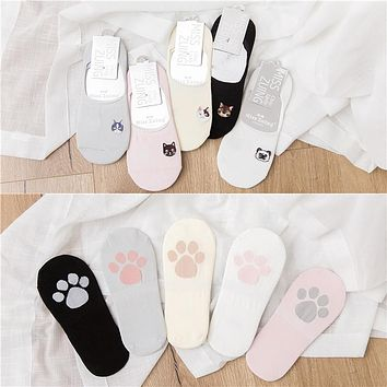 2018 new fashion 5 pairs women socks slippers cute cartoon animal cotton high quality women's boat socks for women invisible