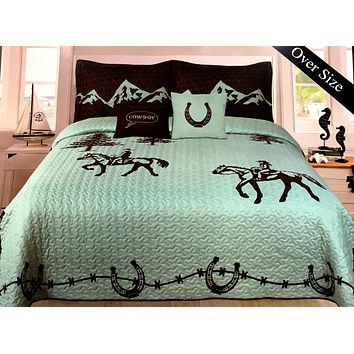 Mountain Turquoise Western Riding Cowboy Design Quilt BedSpread