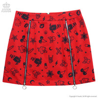 Mysterious whole pattern ZIP skirt [RED] / Listen flavor [Harajuku system fashion]