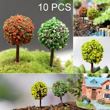 10 pcs Mini Artificial Trees PVC Colored Gardening Landscape Ornaments (Size: 10 PCS Colored Trees, Color: Multicolor)