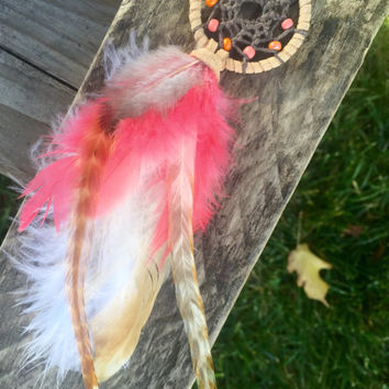 Hot Pink and Tan Car Dream Catcher, Hot Pink and Tan Mini Dream Catcher