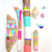 Sticks and Shells Collection - Driftwood Art, Tribal Geometric - Neon, Pastel, Dorm Decor - Painted Driftwood, Seashells, Beach, Boho