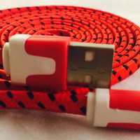 6 foot chargers for IPHONE 5 & 6, charger cords, fabric cords, 6 feet long, 2 meter, long charger cords, iphone 5, iphone 5, usb, chargers