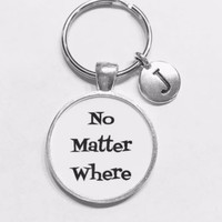 Choose Initial, No Matter Where Best Friend Long Distance Sister Gift Keychain