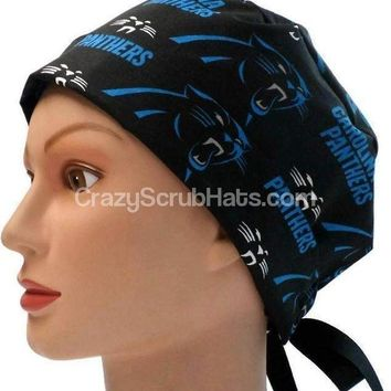 Women's Pixie Surgical Scrub Hat Cap in Carolina Panthers Black