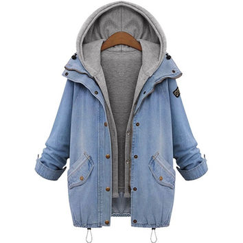 Plus Size Womens Winter Warm Denim Cowboy Hooded Coat + Vest Hoodie Jacket Jean Slim Fit Outwear Overcoat Tops = 1930022852