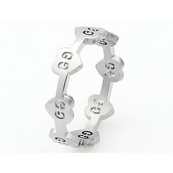 GUCCI creative fashion titanium steel ring girl heart-shaped G pattern single ring F0588-1 Silver