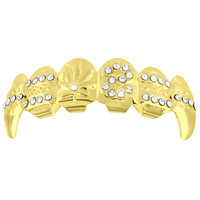 Designer Fang Grillz Yellow Gold Finish Iced