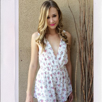 Flower Lake Playsuit- Ivory