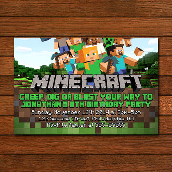 Minecraft Design Inspired Invitation